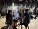 Tourists horrified to see showers installed at the entrance of Auschwitz camp