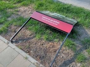 In Babi Yar, vandals damaged information boards