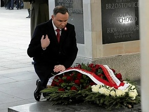 Polish President Andrzej Duda takes part in a ceremony marking the National Independence Day at the Tomb of the Unknown Soldier